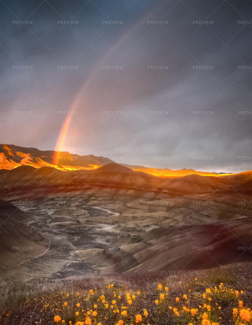 Rainbow And Hills: Stock Photos