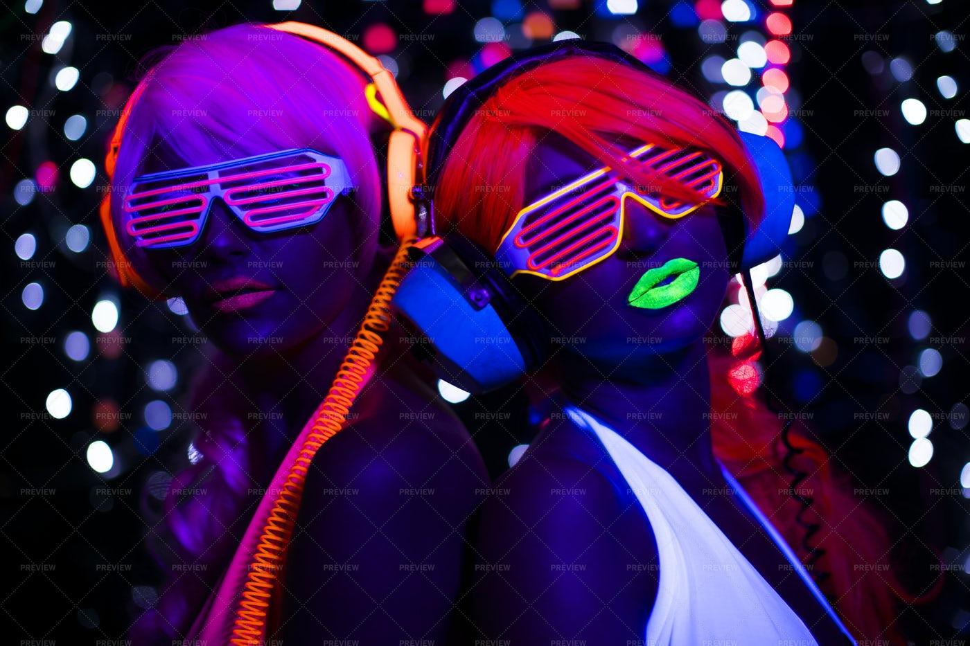 Fluorescent Party Women: Stock Photos