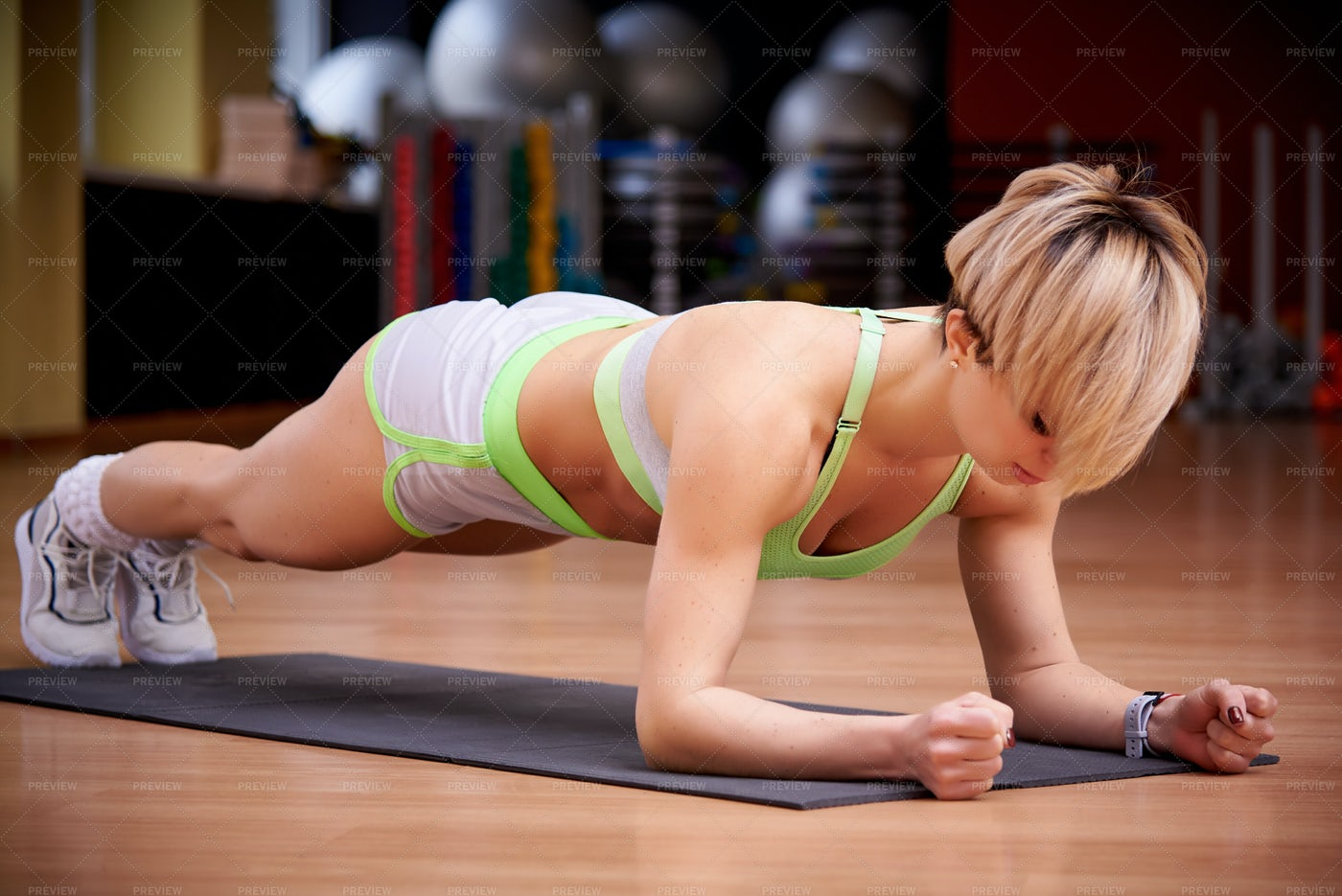 In The Plank Position: Stock Photos