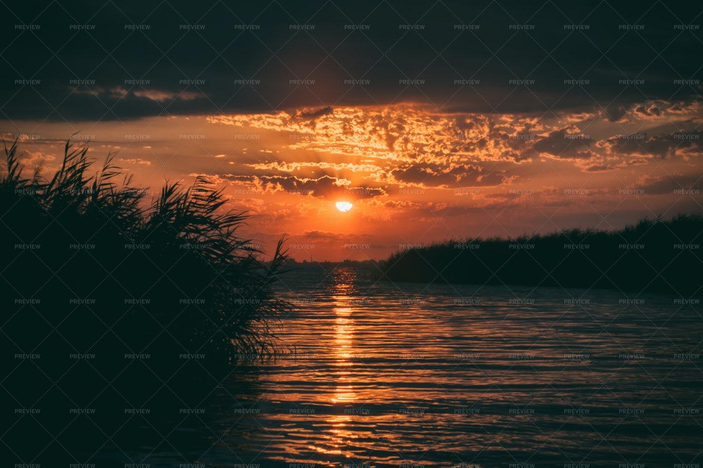 A River Sunset: Stock Photos