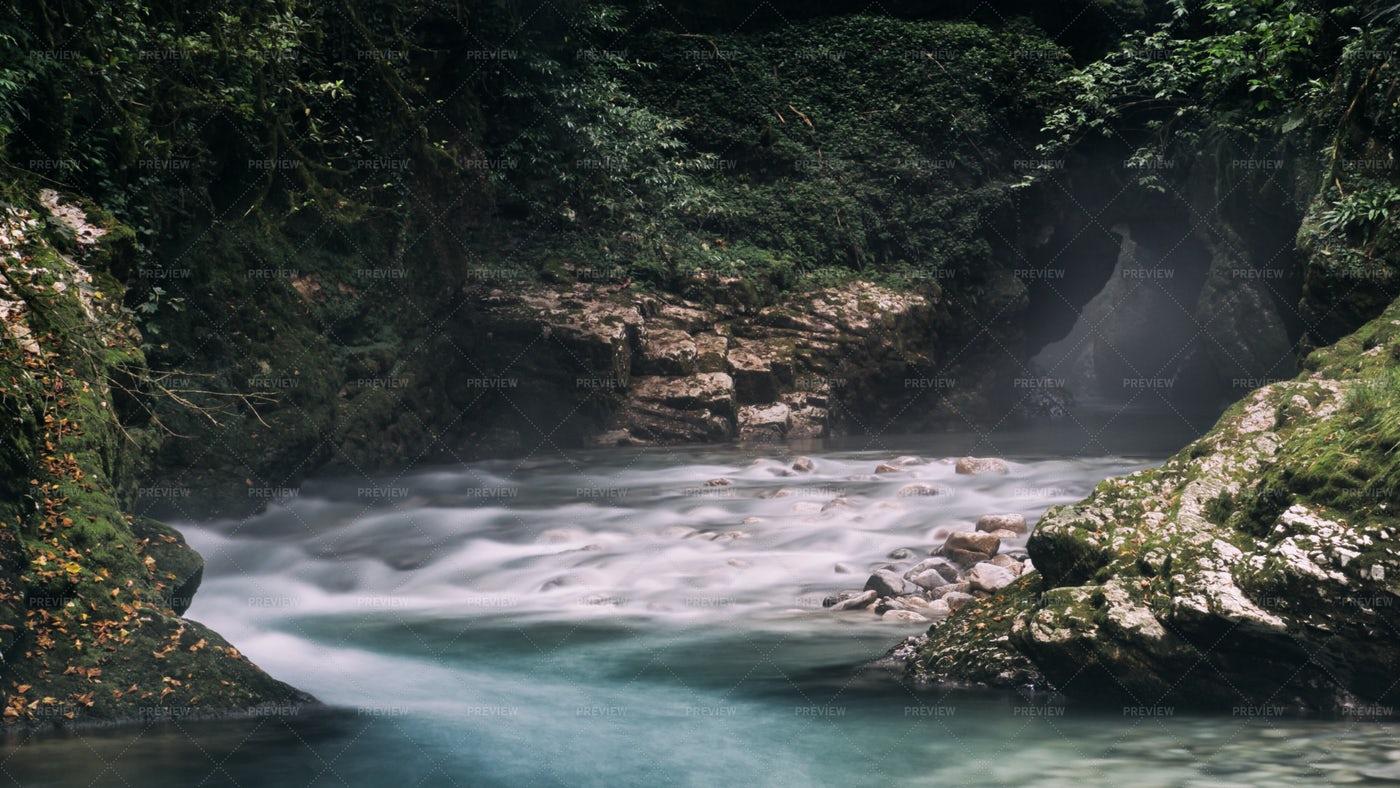 Misty Canyon River: Stock Photos