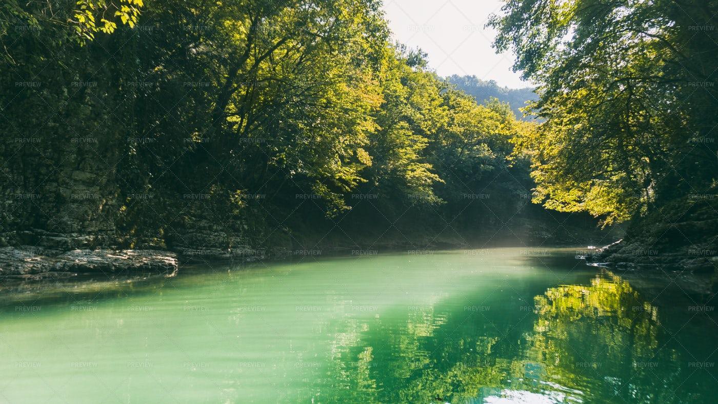Green River And Sun: Stock Photos