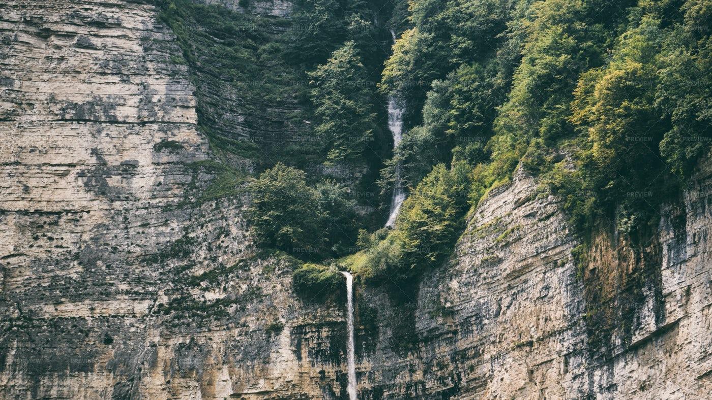 Waterfall In The Rock: Stock Photos