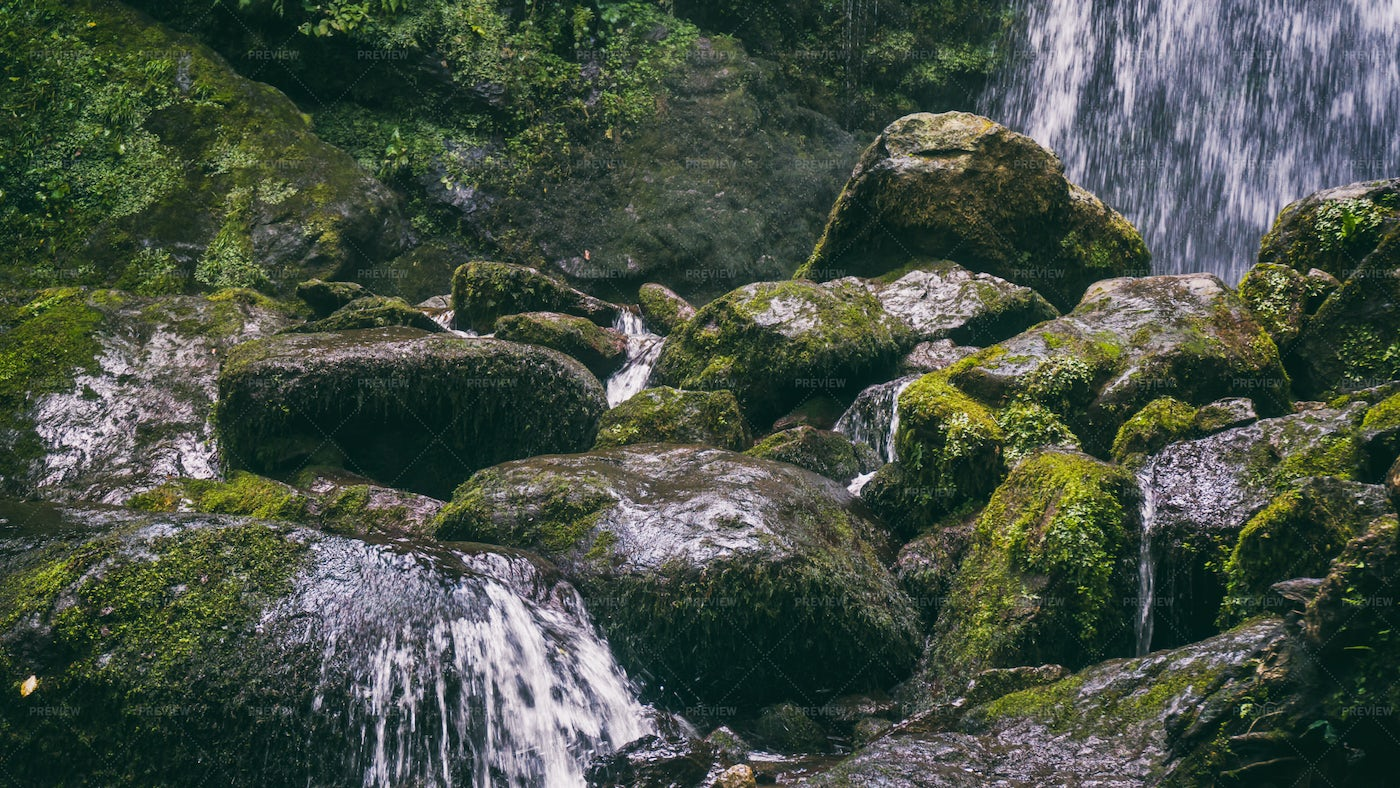 Green Stones And Waterfall: Stock Photos