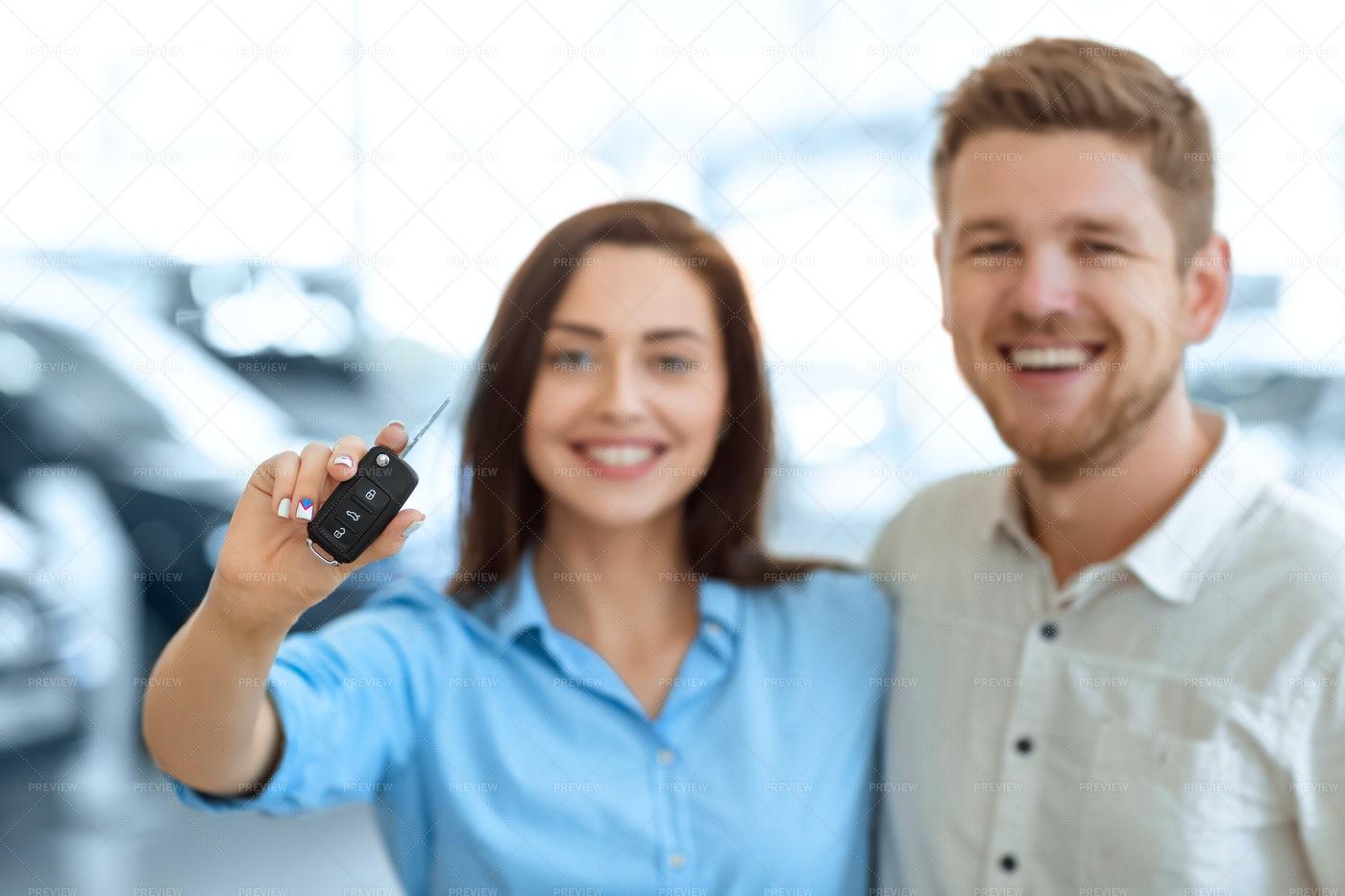 Couple With Car Keys: Stock Photos