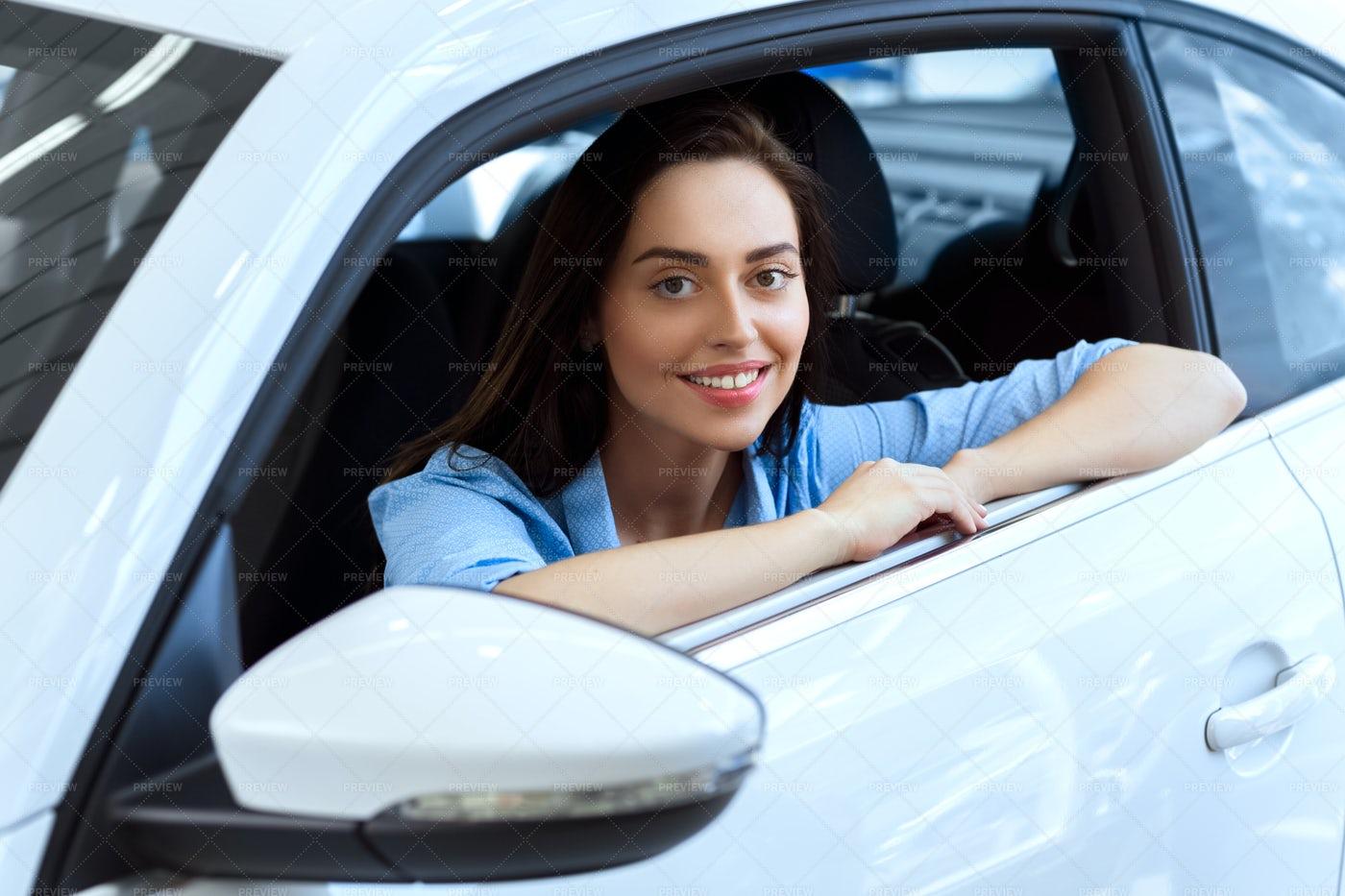 Woman In The Car: Stock Photos