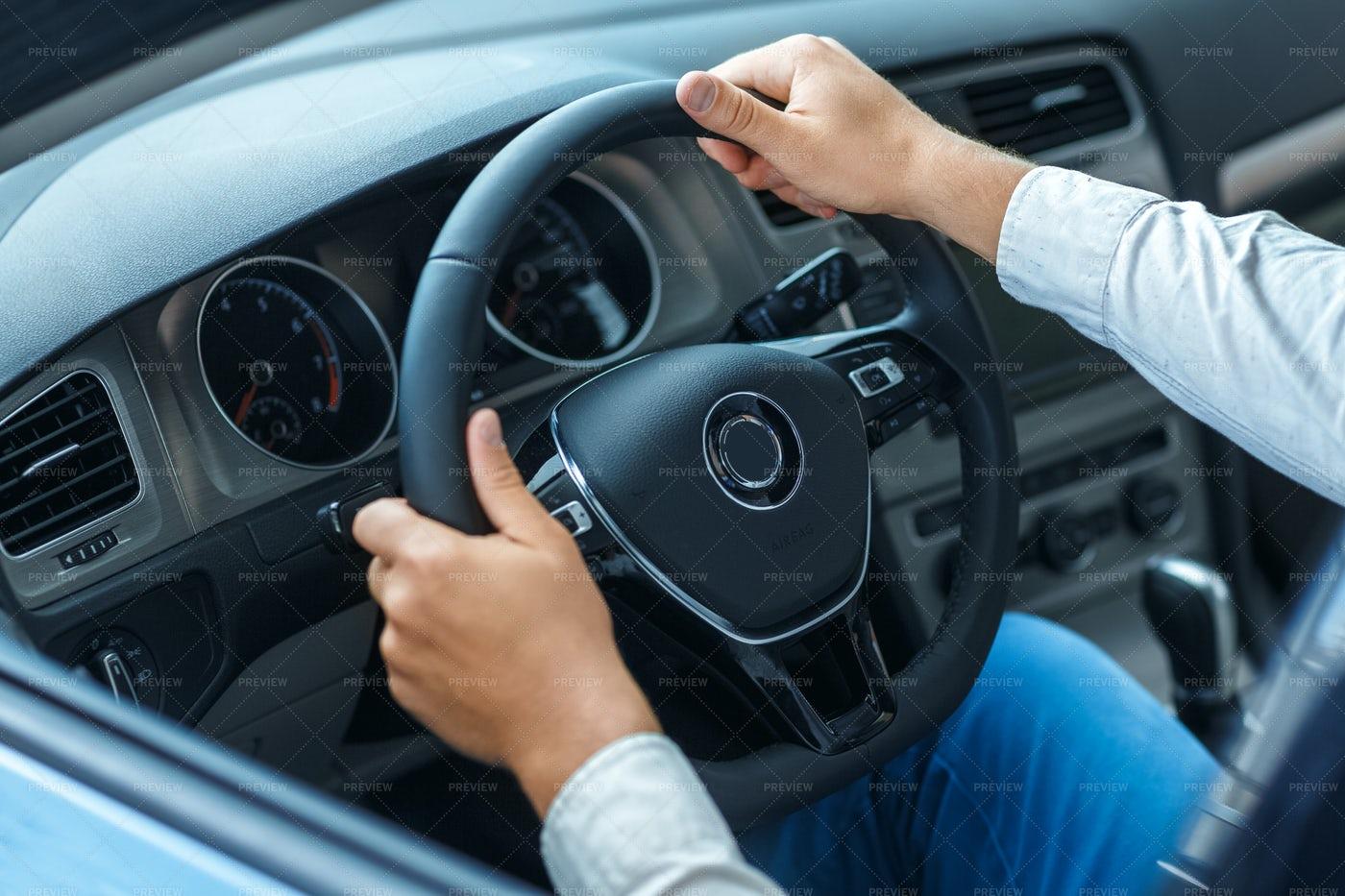 Man Steers His Car: Stock Photos