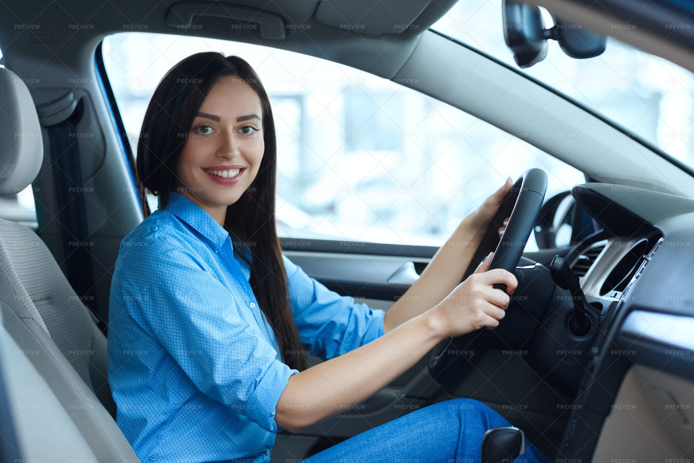Woman Drives A Car: Stock Photos