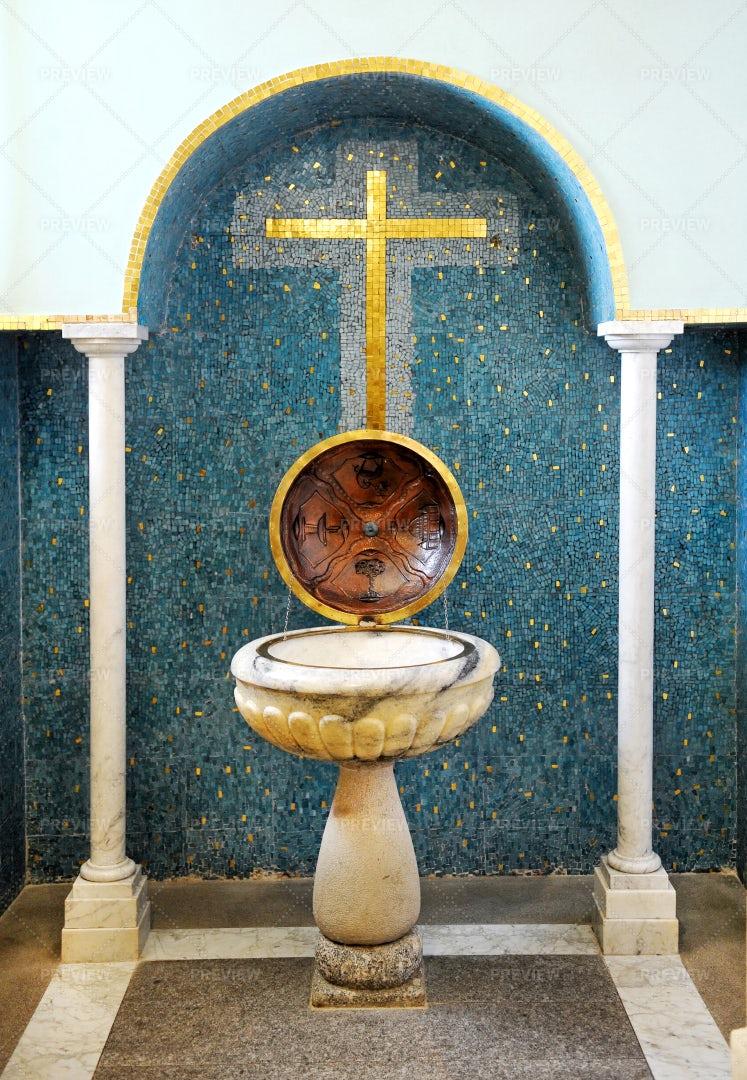 Religious Baptismal Font: Stock Photos