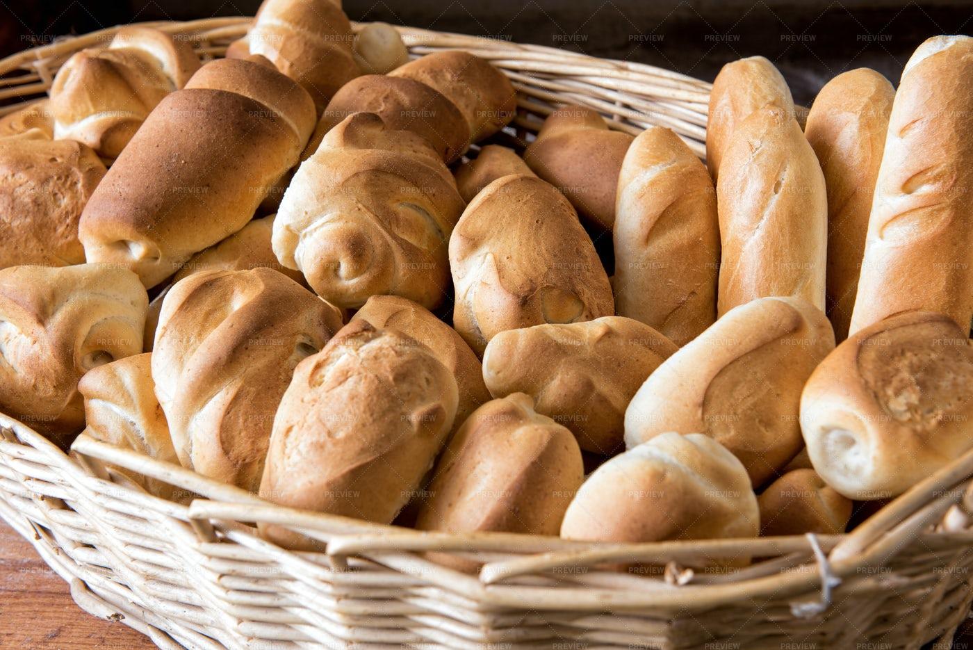 Wicker Basket Of Bread: Stock Photos