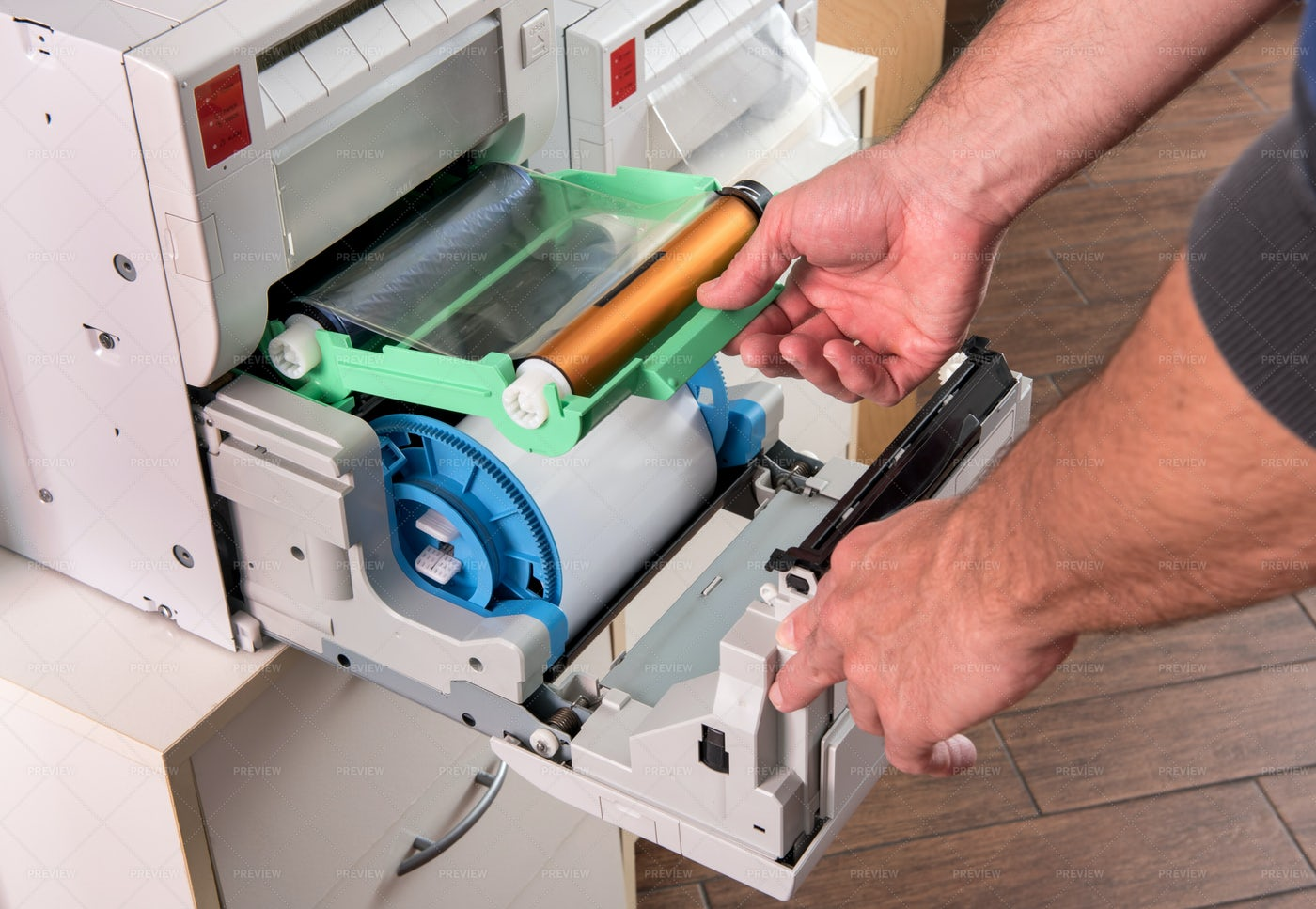 Changing The Printer Ribbon: Stock Photos