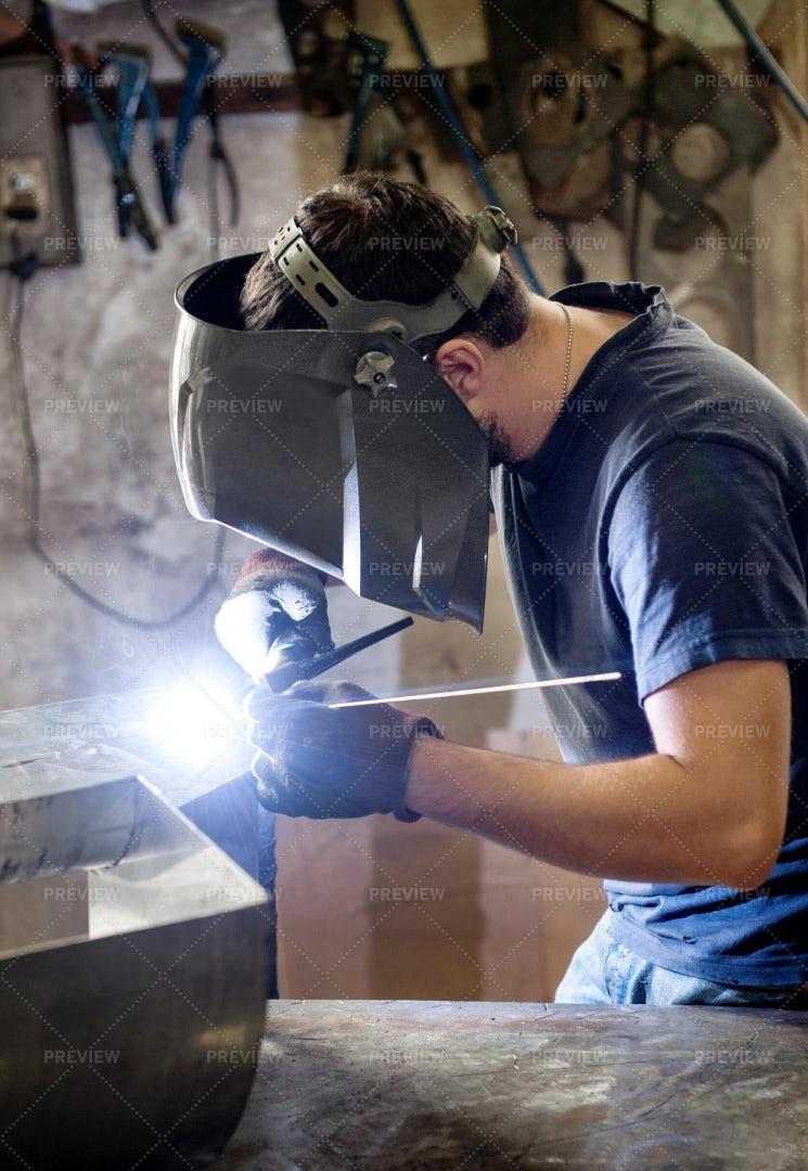 Welding In A Metal Workshop: Stock Photos