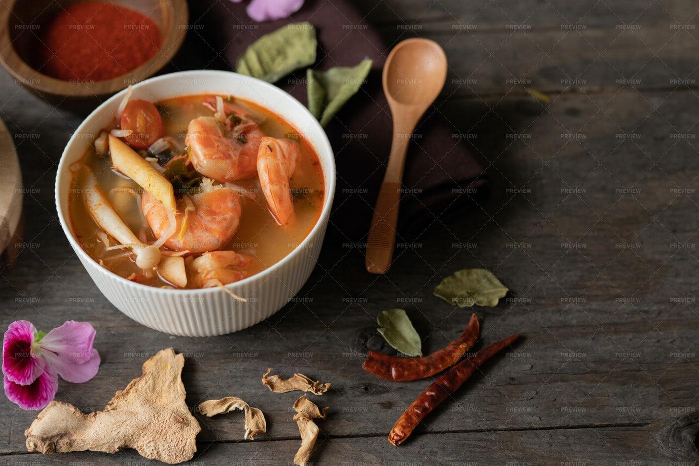 Prawn Spicy Thai Soup: Stock Photos