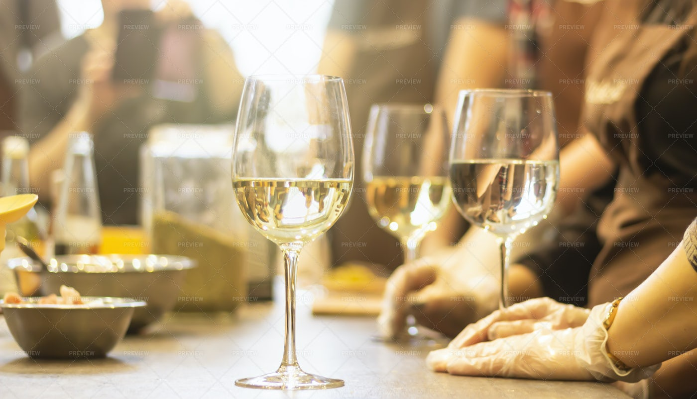 Glasses Of White Wine: Stock Photos