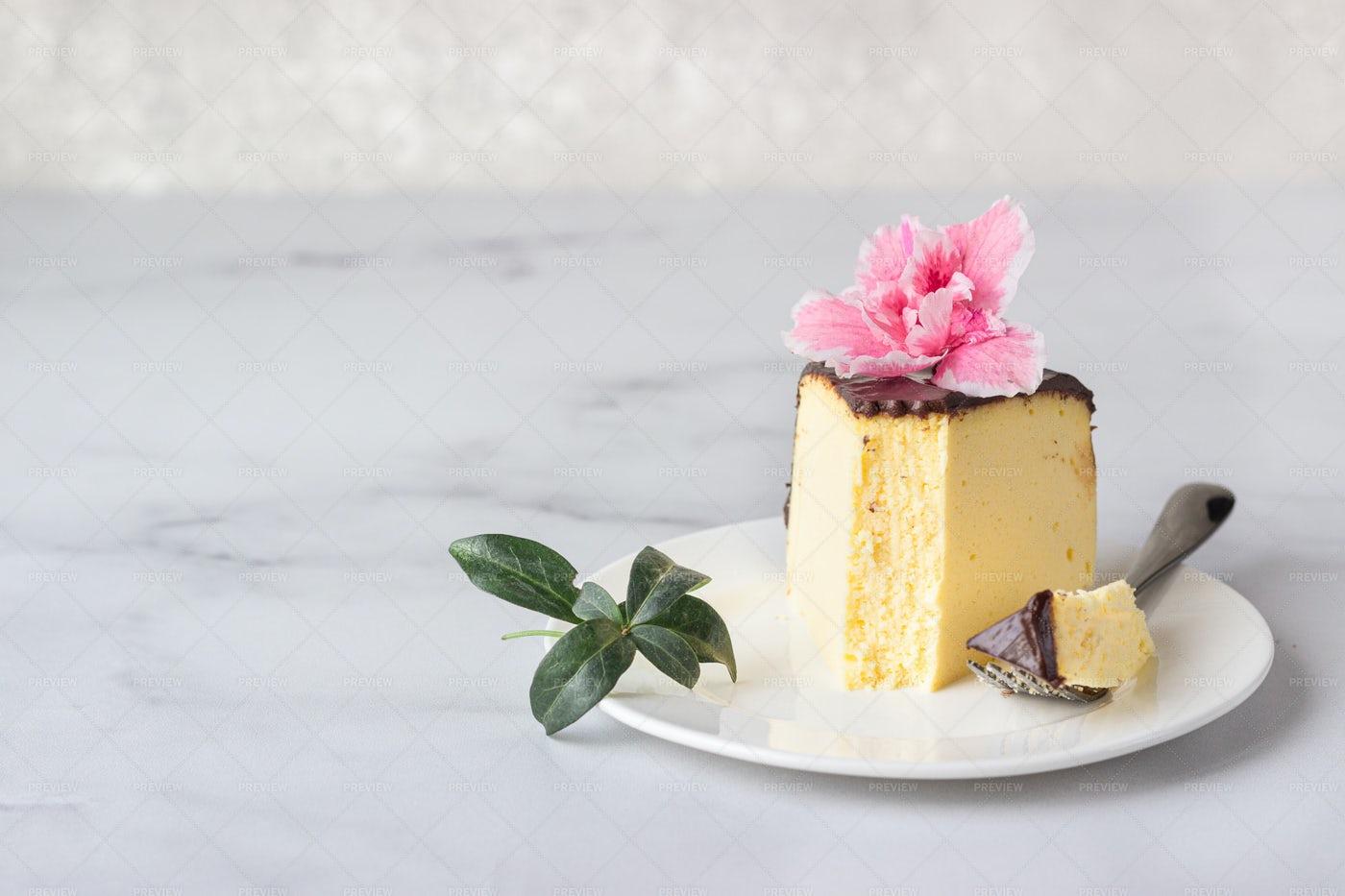 Piece Of Japanese Cheesecake: Stock Photos