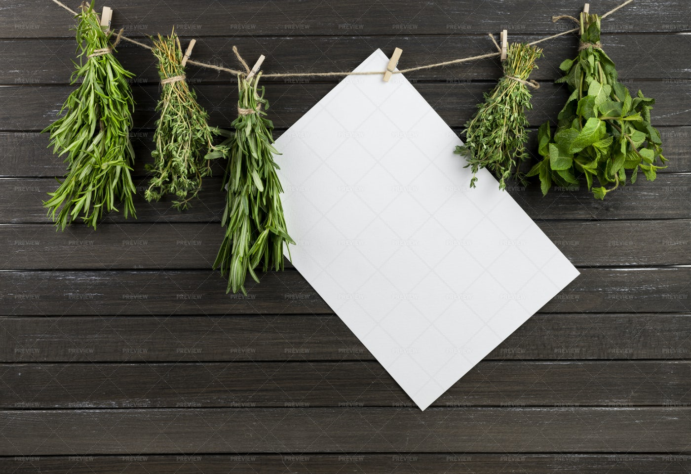 Herbs Drying On A Rope: Stock Photos