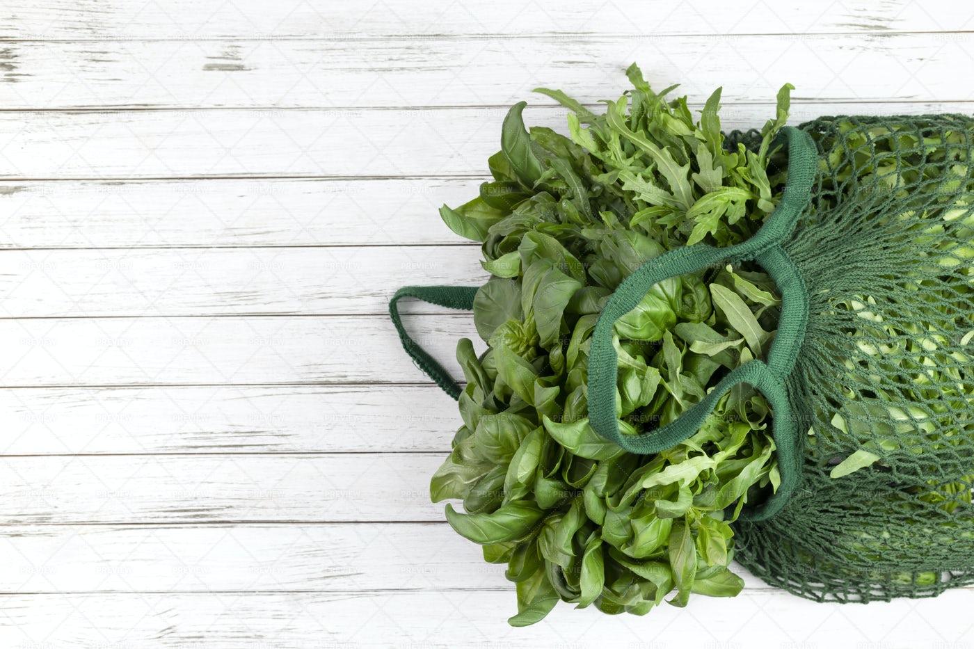 Herbs In A String Bag: Stock Photos