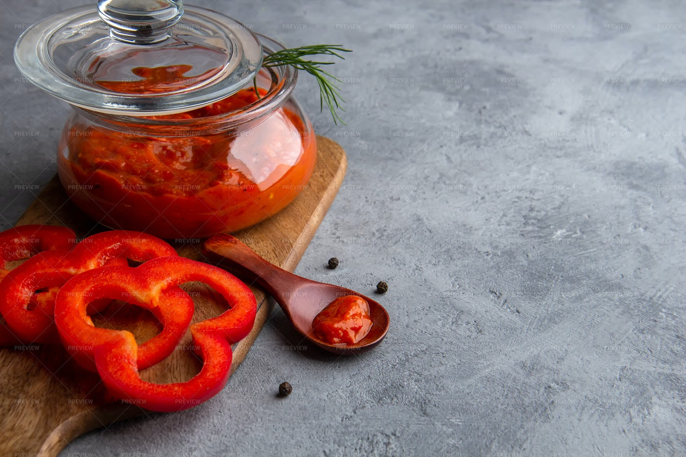 Glass Jar Of Ajvar: Stock Photos