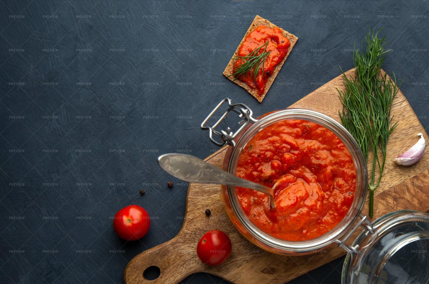 Jar Of Red Pepper Ajvaar: Stock Photos