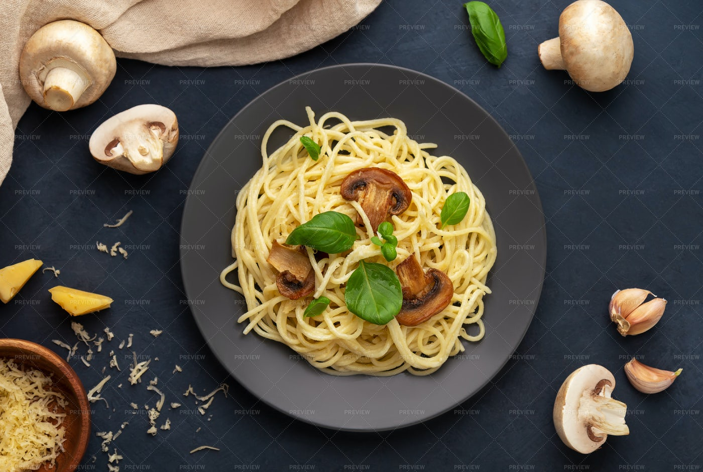 Mushroom Pasta And Ingredients: Stock Photos