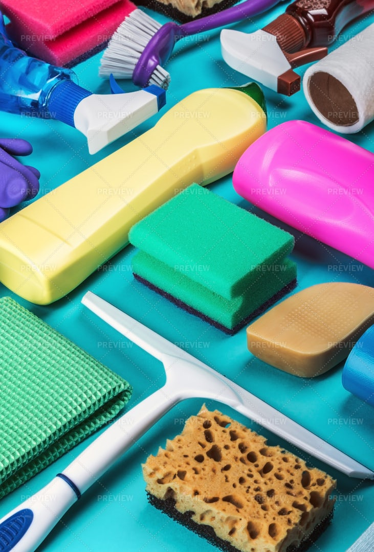 Assortment Of Different Cleaning Product: Stock Photos