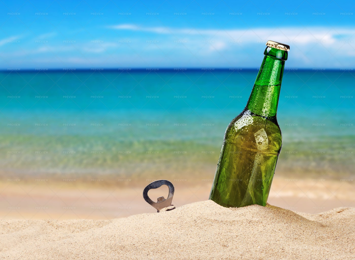 Beer Bottle In The Sand: Stock Photos