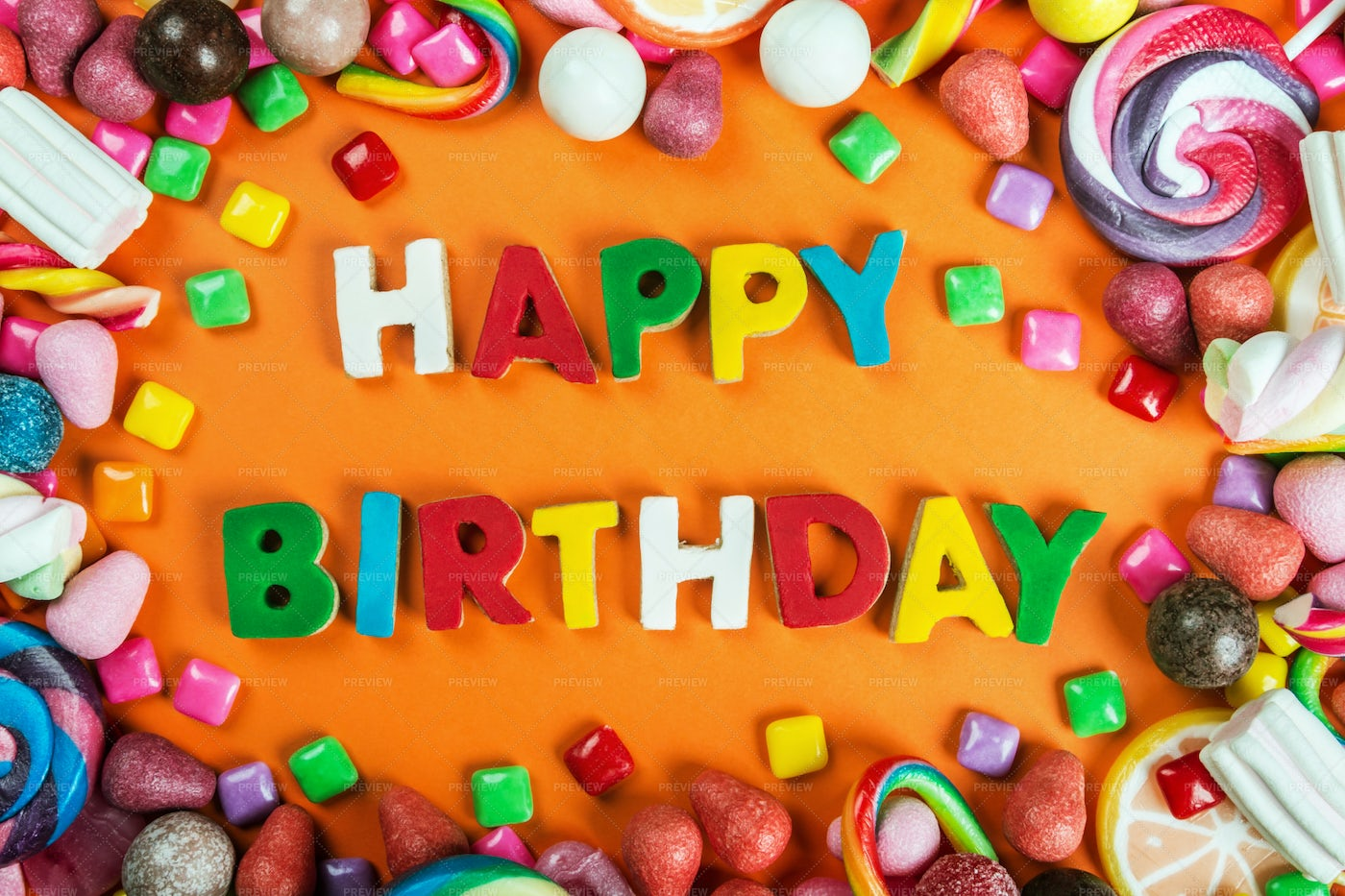 Happy Birthday In Candy: Stock Photos