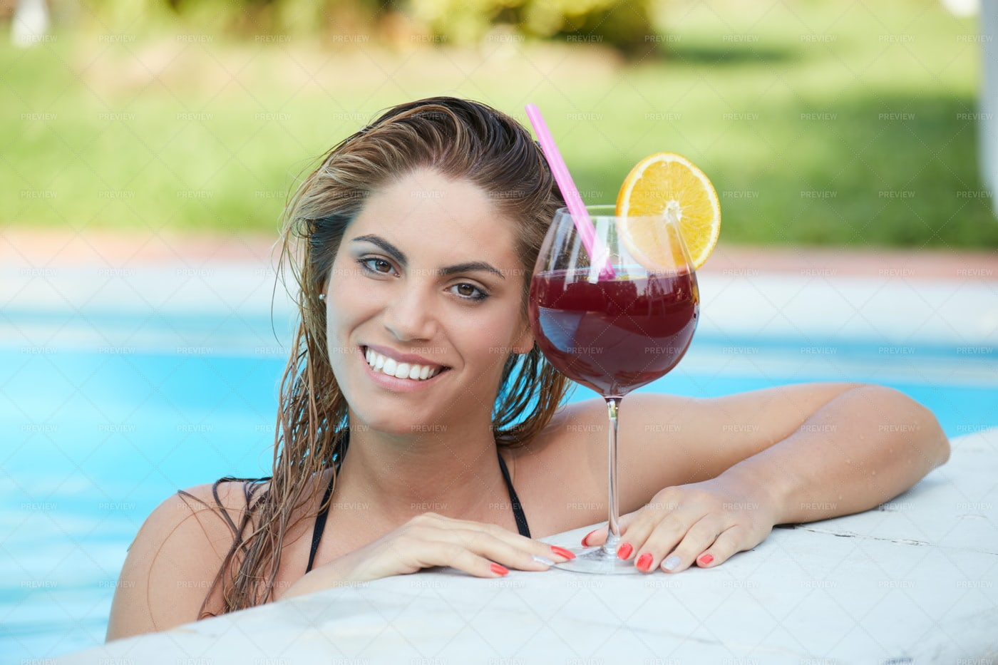Woman At Pool: Stock Photos