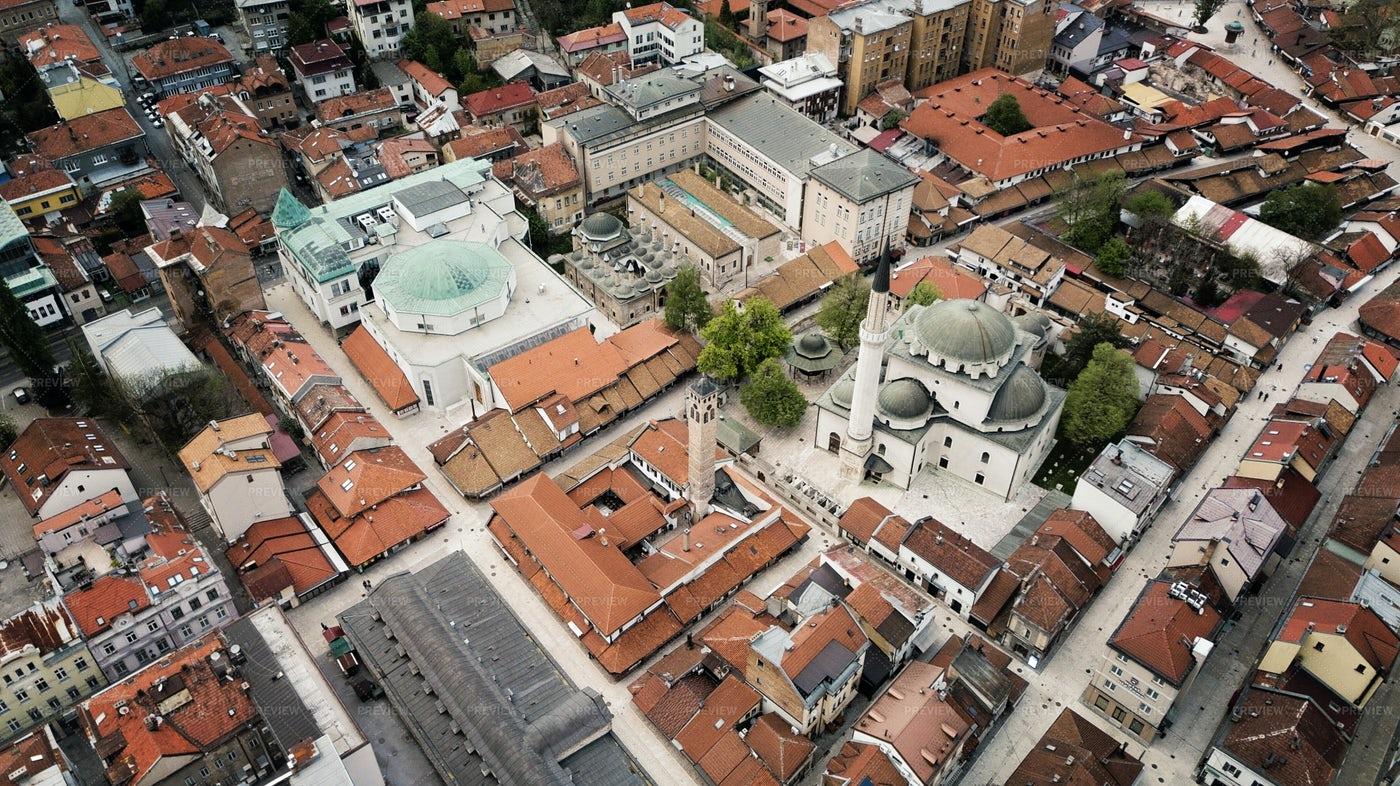 Sarajevo Old Town Aerial: Stock Photos