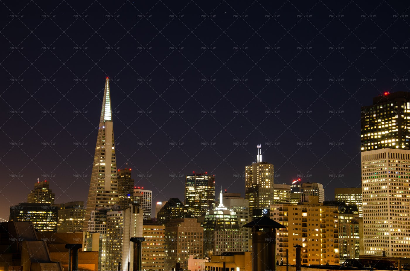 San Francisco Skyline At Night: Stock Photos
