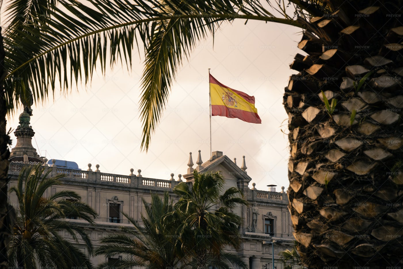 Spanish Flag In The Wind: Stock Photos