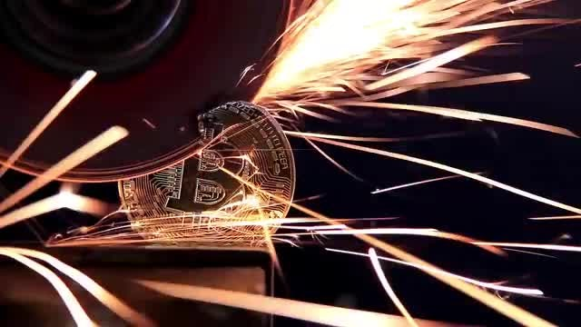 Grinding Bitcoin: Stock Video