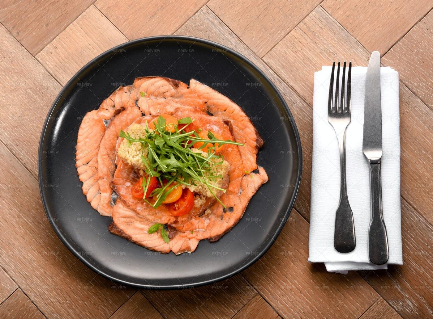 Gourmet Smoked Salmon Slices: Stock Photos