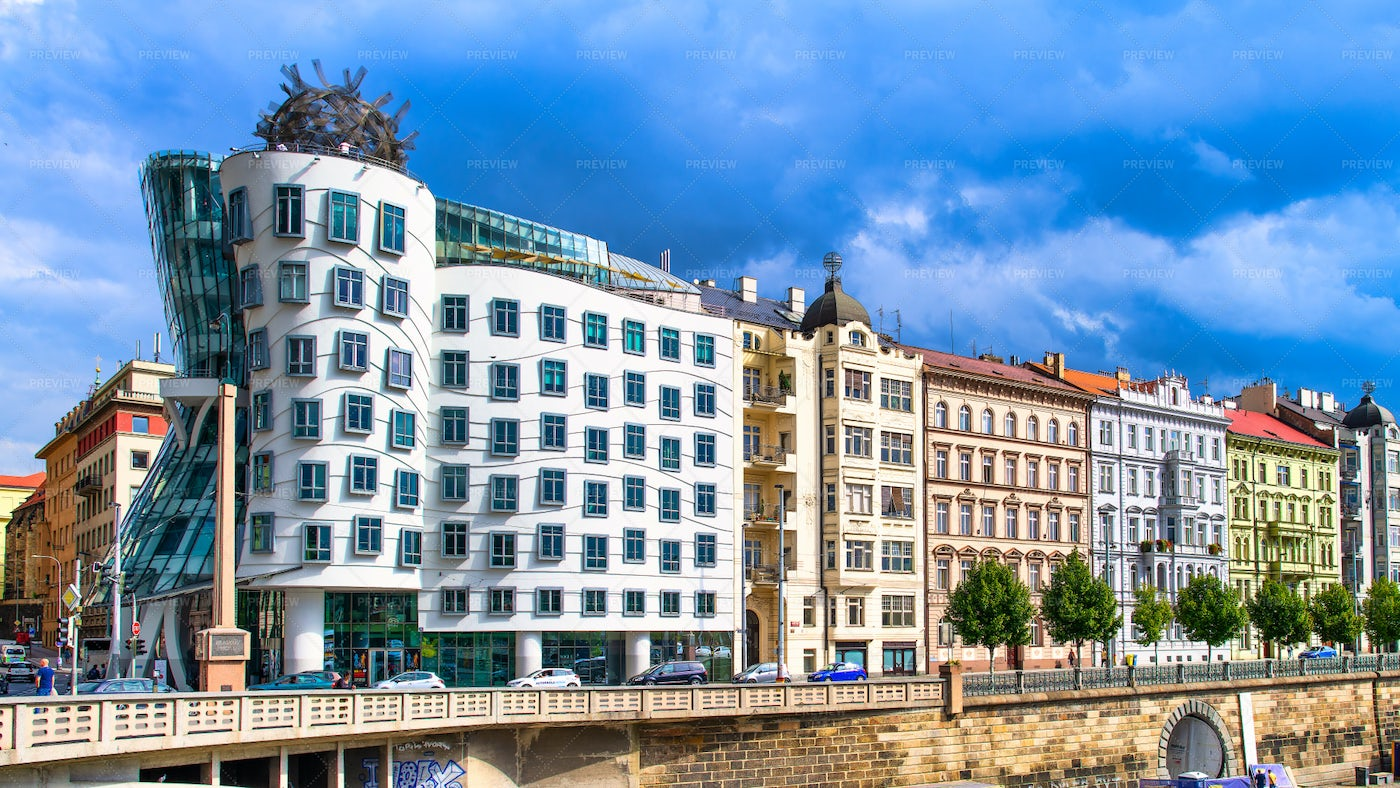 Prague's Palaces And Dancing House: Stock Photos