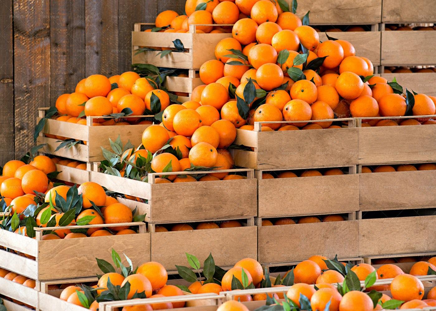 Wooden Crates Of Oranges: Stock Photos