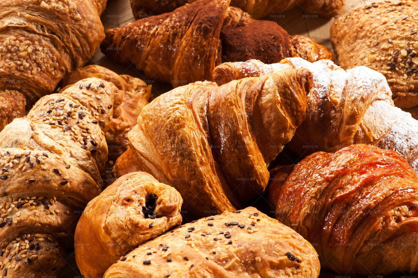 Croissant Pastries Close-Up: Stock Photos