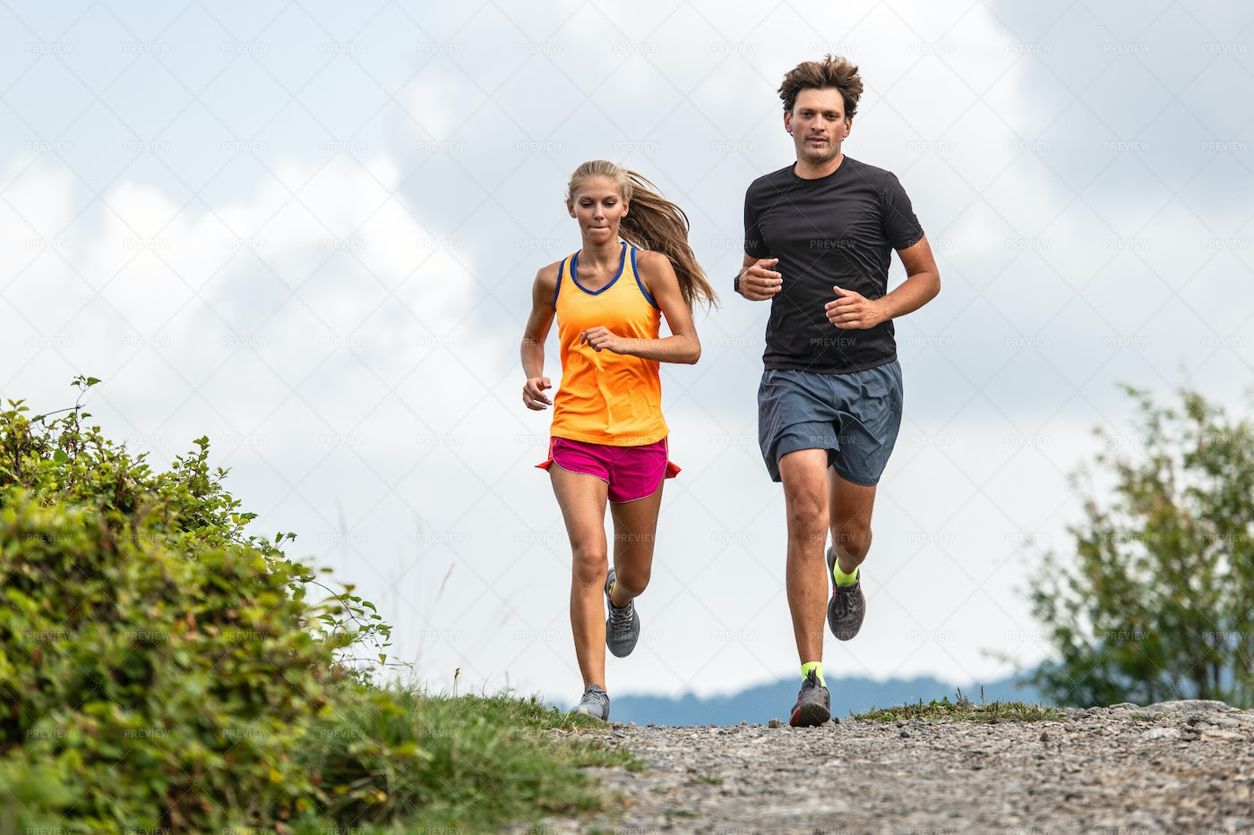 Runners In The Mountains: Stock Photos