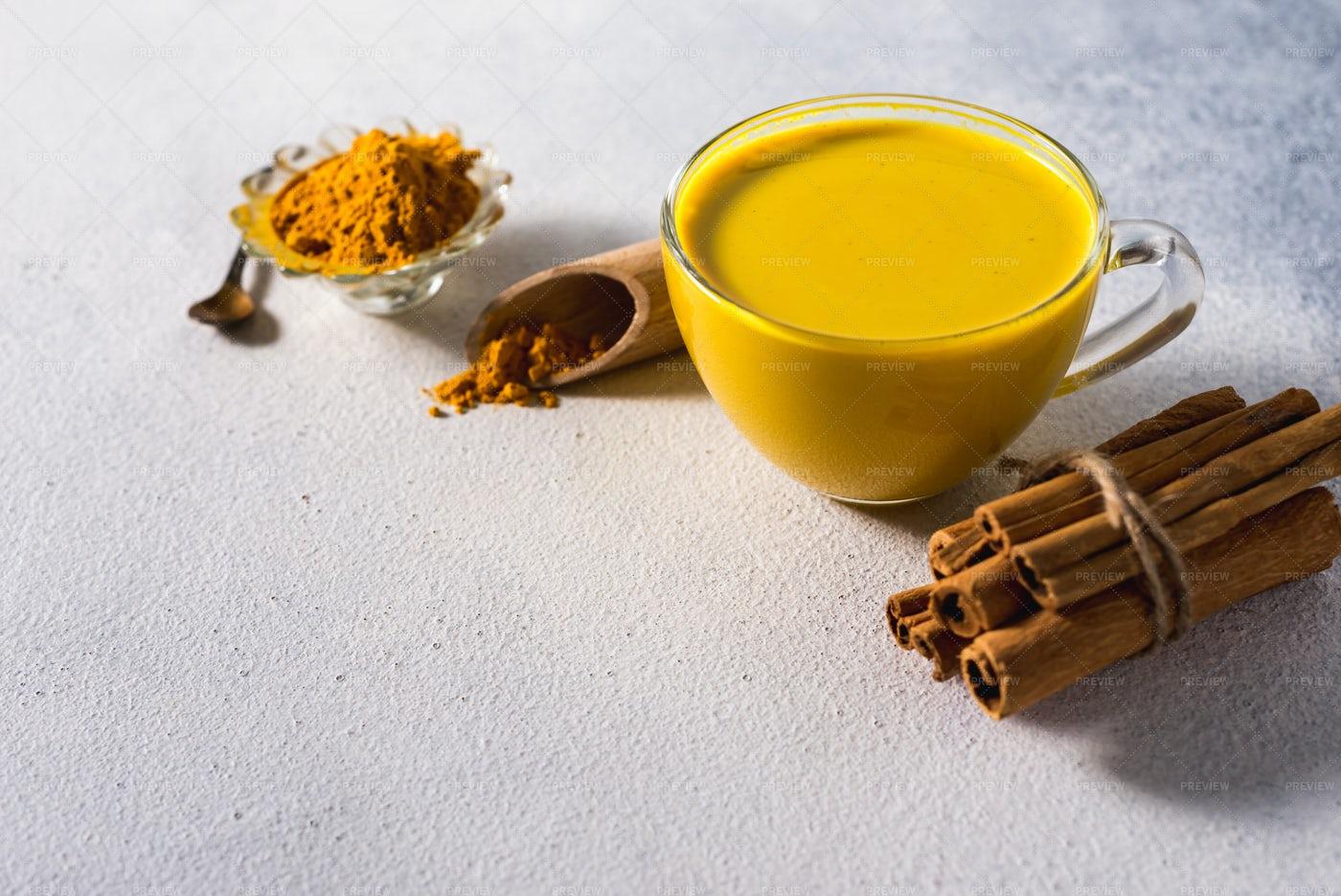 Prepared Golden Turmeric Milk: Stock Photos