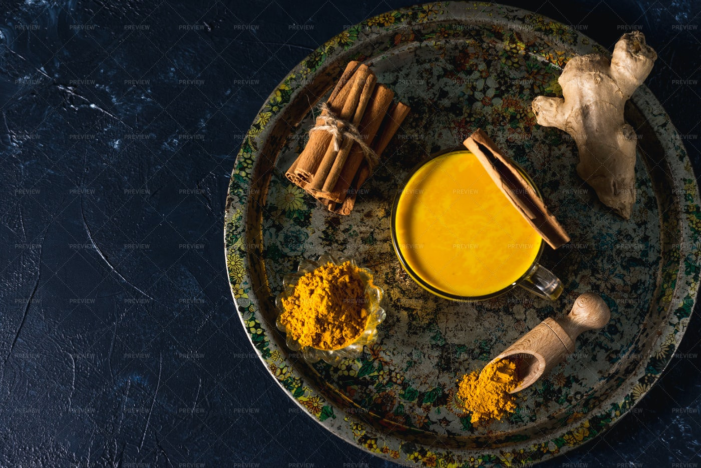 Tray Of Turmeric Milk: Stock Photos