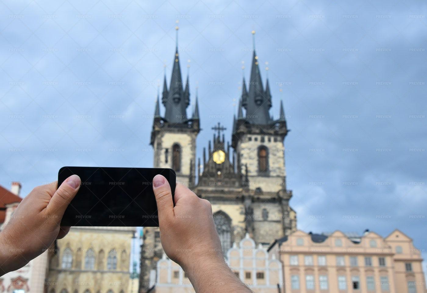 Man Taking Picture Of Prague: Stock Photos