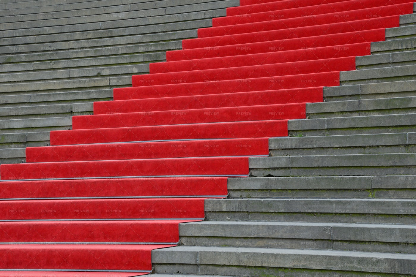 Red Carpet Over Concrete Stairs: Stock Photos