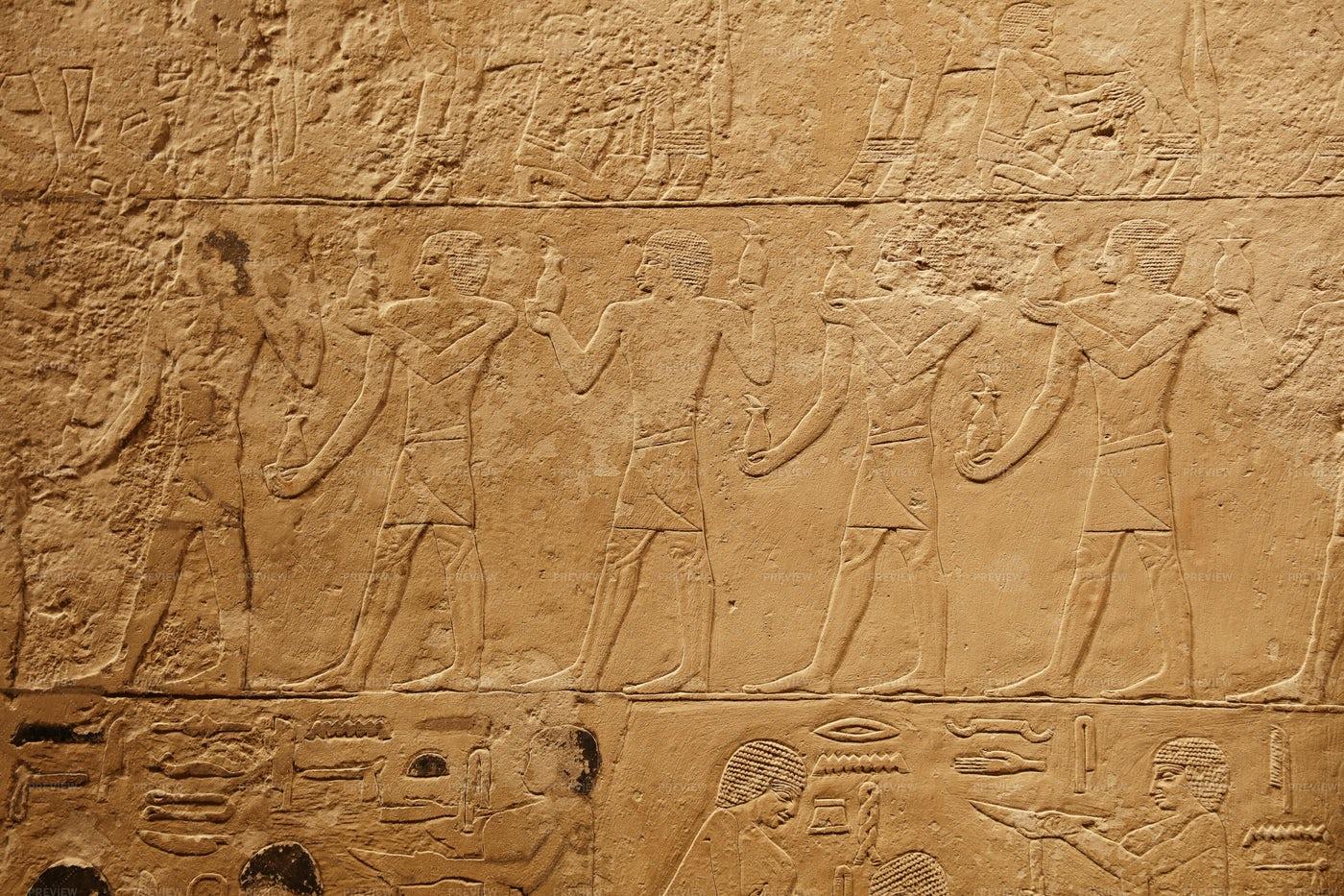 Egyptian Wall Carvings: Stock Photos