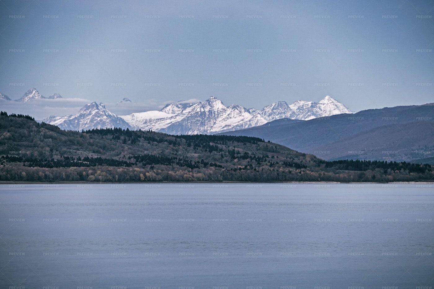 Lake And Snowed Mountain: Stock Photos