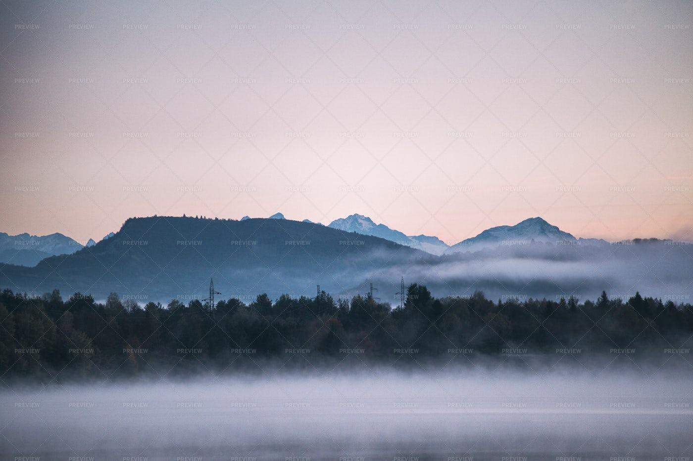 Morning Mist In Mountain: Stock Photos