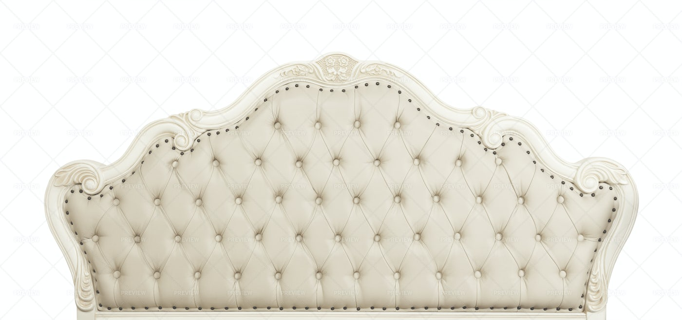 Beige Leather Bed Headboard: Stock Photos
