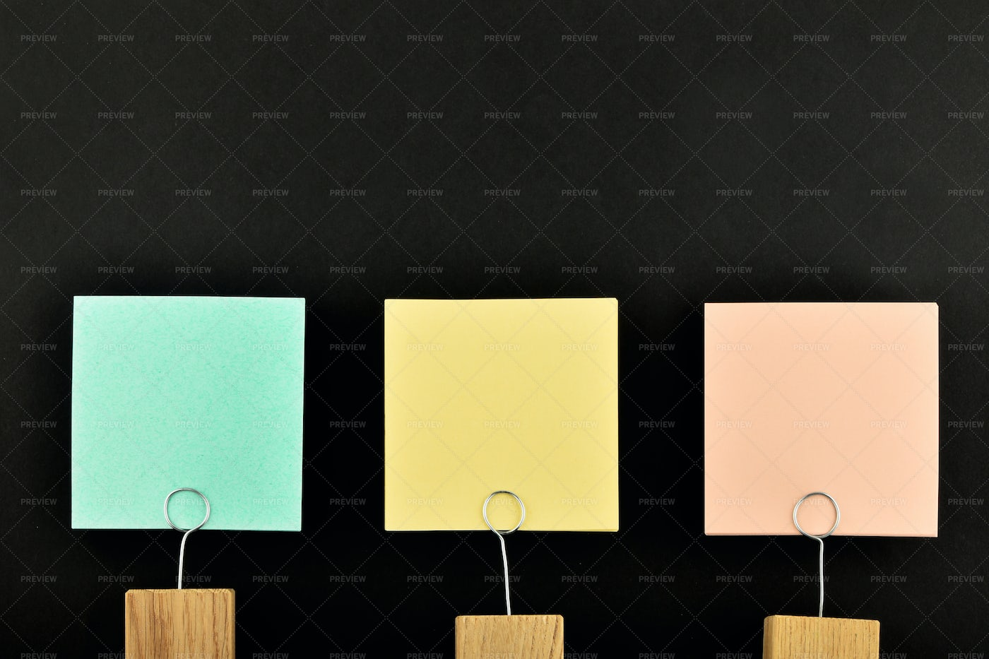 Three Colored Paper Notes: Stock Photos