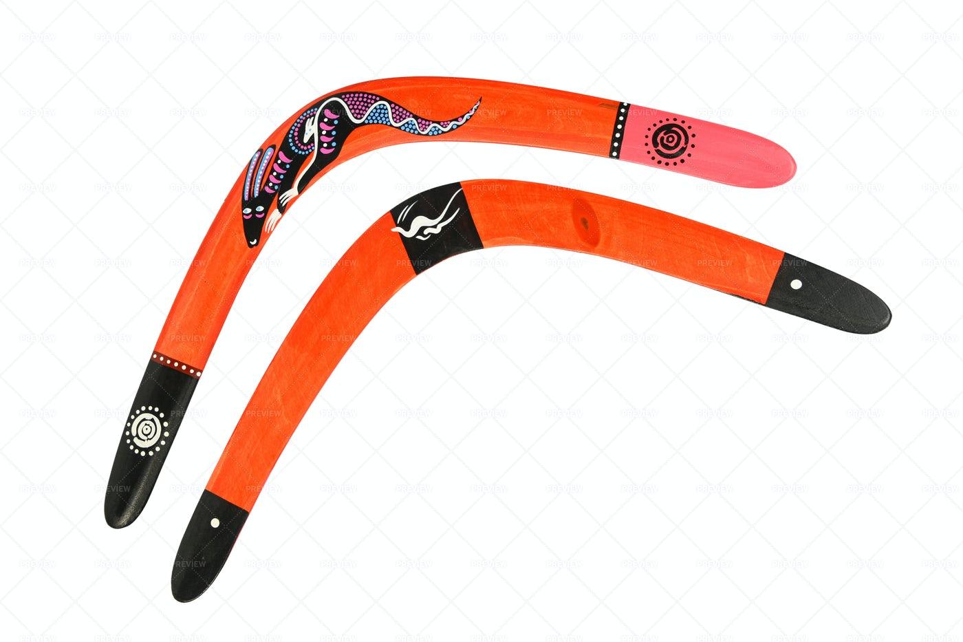 Two Wooden Boomerangs: Stock Photos