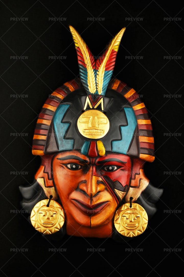 Mayan Mask With Earrings: Stock Photos