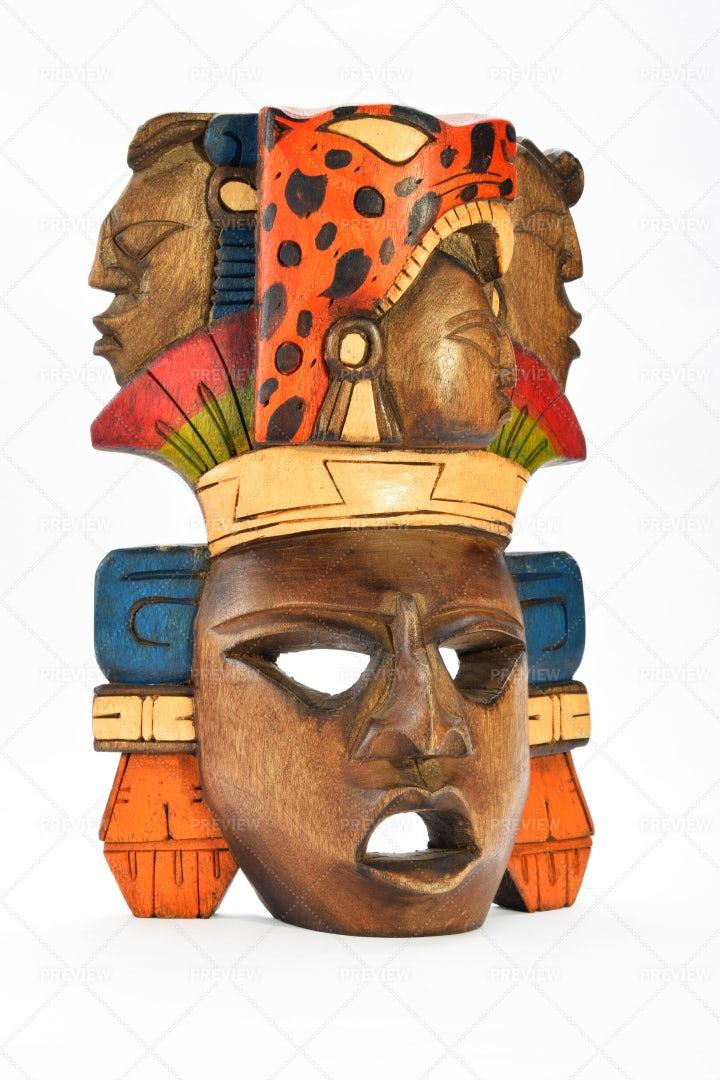 Aztec Wooden Mask: Stock Photos