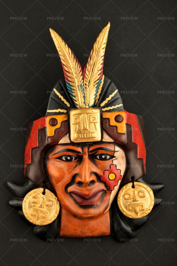 Ceramic Aztec Mask: Stock Photos